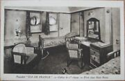 Ship Interior 1930 Postcard-french Line Paquebot-ile De France-first Class Cabin