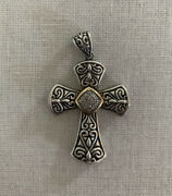 Town And Country Tandc 925 Sterling Silver 14k Gold Pave Diamond Cross Pendant