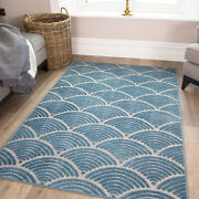 Teal Geometric Rug - Nautical Blue Washable Small Large Rugs Durable Outdoor Mat