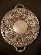 Vintage Barbour S.p. Intand039l 3687a 10.75andrdquo Dutch Ornate Figural Round Serving Tray