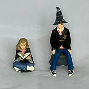 Rare Harry Potter W/ Wizard Hat And Hermione Granger Seated Reading Spellsfigures