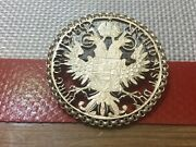 Austria - 1780 Cut Coin Jewelry Pin Brooch Two Headed Eagle - Silver Large