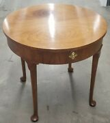 Vintage Walnut Accent Round Table By Baker Furniture Co