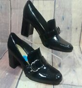 Marc Fisher Womens Caila Patent Padded Insole Dress Loafer Heels Shoes Size 7.5