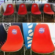 Set Of 4 Vintage Red Eames For Herman Miller Nasa Stacking Chairs — Tom Sachs