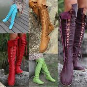 Womens Criss Cross Lace Up Flat Over The Knee High Boots Vintage Moccasins Shoes