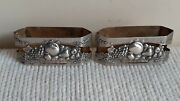 Antique Old Portuguese Silver Sterling Pair Of Napkin Rings Basket With Fruits