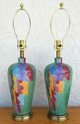 Pair Of Frederick Cooper Modern Mcm Abstract Art Deco Porcelain Table Lamps