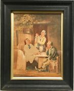 Fine 18th Century Early American Gouache Painting Checkers Board Game Colonial