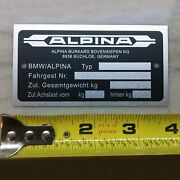 Alpina Custom Id Plate Vehicle Serial Number Data Tag E34 E28 V10 M3 Dinan Bmw
