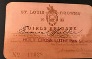 1938 St Louis Browns Ticket Pass Lou Gehrig Hr New York Yankees Clinch Pennant