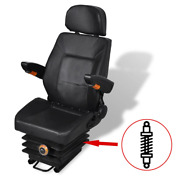 Vidaxl Tractor Seat W/ Suspension Black Forklift Replacement Relaxer Chair