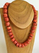 Antique Chinese Natural Coral Salmon Color Bead 187 Gram Necklace M2334