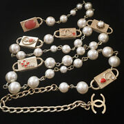 Necklace Belt Auth Coco Logo Chain Vintage Rare Key Pearl Kawaii Cute F/s