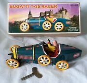Schylling Bugatti T-35 Racer Tinplate Clockwork Car , Great Condition And Boxed