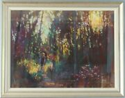 Large Framed And Glazed David Napp Coloured Pastel, Through The Woods In Sunlight