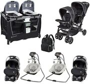 Boy Or Girl Deluxe Combo Twins Set Baby Stroller Car Seat Swing Chair Pack Play