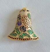 Vintage Cloisonne Brooch Bell Christmas Pin