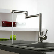 Brushed Stainless Steel Pot Filler Laundry Kitchen Sink Faucet Retractable Arm