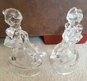 Le Smith Glass Hummel Clear Girl With Ducks Geese Bookends 7.75 Tall