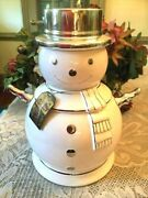 A 2008 Bath And Body Works Slatkin Limited Edition Snowman Cookie Jar Canister