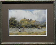 David Law 1831-1901 Original Painting Hay Harvest And Horse Cat In Thames Valley