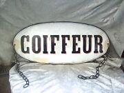 Large Antique Outdoor Hanging Porcelain On Metal French Hair Salon Stgn Coiffeur