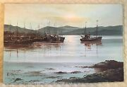 Vintage Fishing Boats In Harbor During Sunset Oil Painting Signed By P. Jenkins