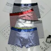 Men Underwear Boxers Knickers Striped U Convex Underpants Shorts Breathable Soft