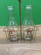 Antique Country Hickory Hills Glass Cow Milk Bottles In Wire Rack Holder