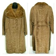 Vintage 1950s Woman Wool Winter Coat Mink Collar Couture Belted Lined Long M / L