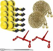Dc Cargo Mall Flatbed Tie-down Kit - 15 Pieces 4 Inch Flatbed Winch Straps,...