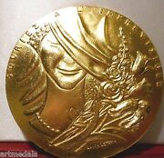 Stunning Gilt Bronze French Woman Smile 100mm Medal Best Wishes Horse New Year