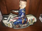 Vintage Toys Motorcycle Tin Police Patrol Pd Made In Japan