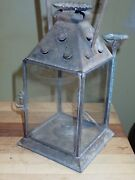 Antique 19th Century Pierced Tin Lantern Dual Fueled Candle Or Whale Oil Mining