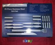 Sharper Image 25 Pc Bbq Grill Stainless Steel Utensil Set W Carrying Case New