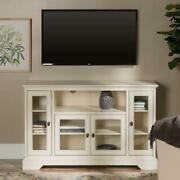 Tv Stand 52 In. Cable Management Glass Doors Adjustable Shelf Antique White Wood