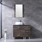36and039and039 Bathroom Vanity Cabinet Solid Set Tempered Glass Vessel Sink W/faucet Drain