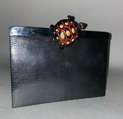Rare Isabel Canovas Clutch Purse - Black Reptile Turtle Clasp - Made In France
