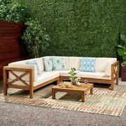 Outdoor Sectional Sofa 4 Piece Set Beige White Variety Color Solid Wood
