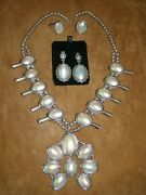 Mother Of Pearl And Sterling Silver Set-- Necklace, 2 Rings And 2pair Earrings