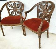 Pair Of Antique Hand Carved Walnut French Provincial Accent Statement Armchairs
