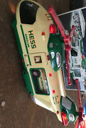 2001 Hess Toy Truck Helicopter With Motorcycle Cruiser And Fall Operational Box