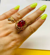 Rare Ring Russian Soviet Star Vintage Ussr Jewelry Gold 14k ⭐️ 583 Large Ruby