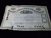 1876 Dubuque And Sioux City Railroad Company Stock Certificate Iowa 30 Shares