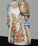 15.5 Wooden Hand-carved Santa. Hand-painted Andrdquosanta And Children. Handmade