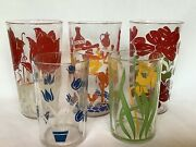 Vintage Lot Of 5 Swanky Swigs Tumblers Glasses Flowers Mexican Rooster Tulips