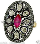 Vintage Style 3.16cts Old Mine Rose Antique Cut Diamond Ruby Silver Ring Jewelry