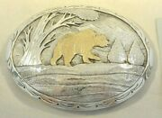 Xl Ray Calladito Belt Buckle Signed Navajo W/14k Gold Bear And Sterling Silver