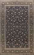 Excellent Vintage Floral Traditional Hand-knotted Navy Wool Large Area Rug 10x14